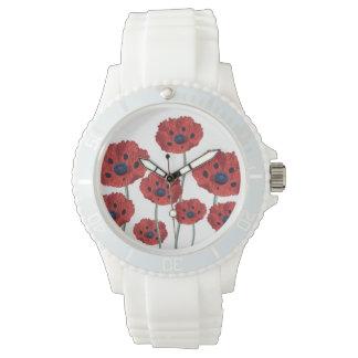 ケシの赤い白 腕時計