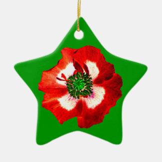 ケシの赤く白い緑のオーナメントの星の緑 セラミックオーナメント