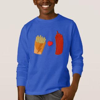 ケチャップおよび揚げ物-子供へおもしろいな食糧ワイシャツ Tシャツ
