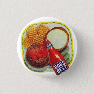 ケチャップが付いているレトロのヴィンテージの低俗なハンバーガー 缶バッジ