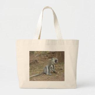 ケニアのベルベットモンキーのバッグ、アフリカのサファリCollectio ラージトートバッグ