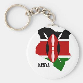 ケニアの地図および旗 キーホルダー