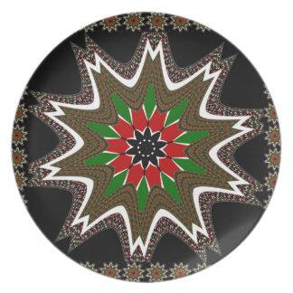 ケニヤのコーヒー茶色によって縁どられるデザイン パーティー皿