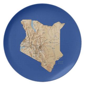 ケニヤの地図のプレート パーティー皿