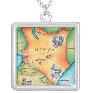 ケニヤの地図 シルバープレートネックレス