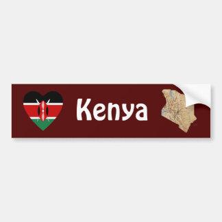 ケニヤの旗のハート + 地図のバンパーステッカー バンパーステッカー