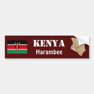 ケニヤの旗 + 地図のバンパーステッカー バンパーステッカー
