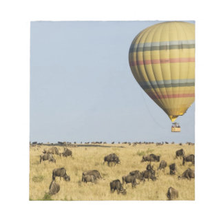 ケニヤ、マサイ語マラ。 観光客は熱気の気球に乗ります ノートパッド