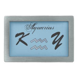 ケネスYoncich著アクエリアスの(占星術の)十二宮図の記号の要素 長方形ベルトバックル