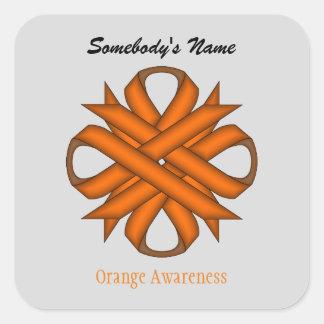 ケネスYoncich著オレンジクローバーのリボン スクエアシール