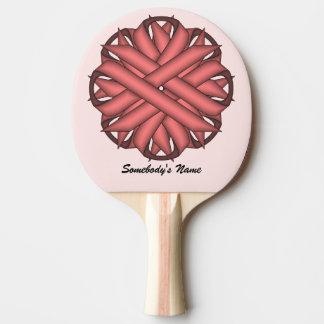 ケネスYoncich著ピンクの花のリボン 卓球ラケット