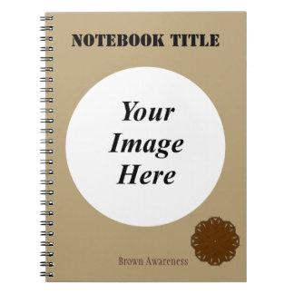 ケネスYoncich著ブラウンの花のリボンのテンプレート ノートブック