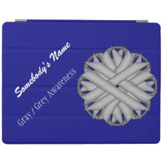 ケネスYoncich著灰色/灰色の花のリボン iPadスマートカバー