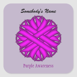 ケネスYoncich著紫色の花のリボン スクエアシール