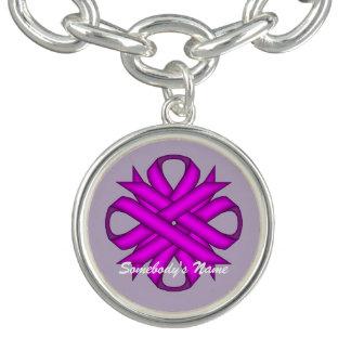 ケネスYoncich著紫色クローバーのリボン ブレスレット