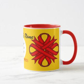 ケネスYoncich著赤いクローバーのリボンのテンプレート マグカップ