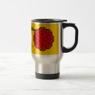 ケネスYoncich著赤い花のリボンのテンプレート トラベルマグ
