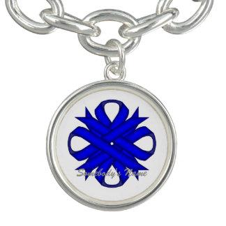ケネスYoncich著青いクローバーのリボン チャームブレス