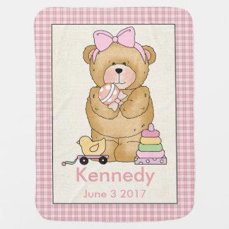 ケネディの名前入りなベビーくま毛布 ベビー ブランケット