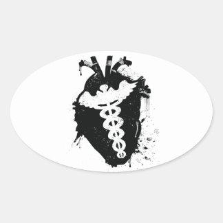 ケリュケイオンの解剖ハート 楕円形シール