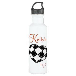 ケリー名前入りなH2O B&Wのハート ウォーターボトル