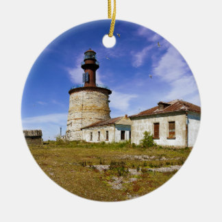 ケリ、エストニアの小島の灯台 陶器製丸型オーナメント
