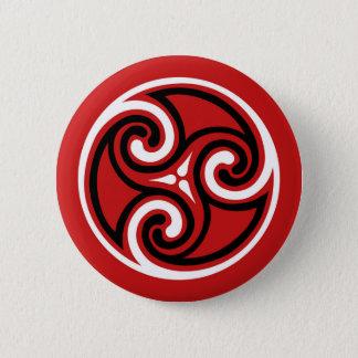 ケルト人のTriskeleのオーナメント、白黒赤 5.7cm 丸型バッジ