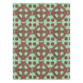 ケルト十字のミントの緑のモモの結び目 テーブルクロス