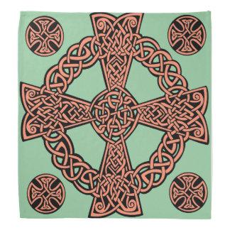 ケルト十字のミントの緑のモモの結び目 バンダナ
