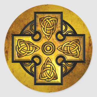 ケルト十字(金ゴールドの金属) ラウンドシール