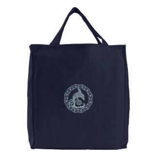 ケルト族のイルカ 刺繍入りトートバッグ
