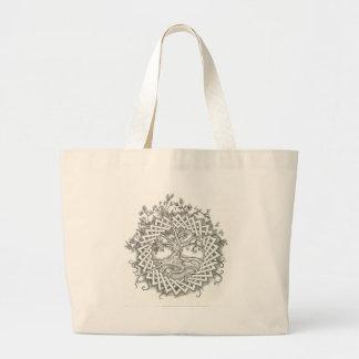 ケルト族のデザインの生命の樹 ラージトートバッグ