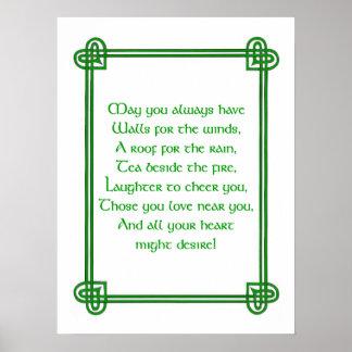 ケルト族のデザインプリントまたはポスターとのアイルランドの願い ポスター