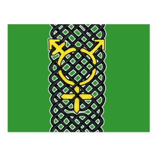 ケルト族のトランス・ジェンダーの記号の黄色 ポストカード