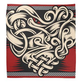 ケルト族のハートの赤の白黒 バンダナ
