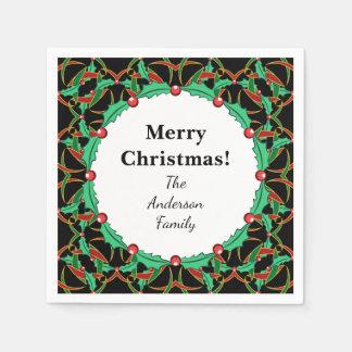 ケルト族のヒイラギのリースパターン名前入りなクリスマス スタンダードカクテルナプキン