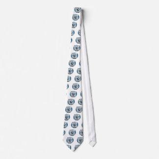 ケルト族の結び糸細工のデザイン-青い犬 ネクタイ
