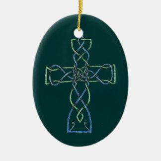 ケルト族の結び糸細工の十字、オーナメント セラミックオーナメント