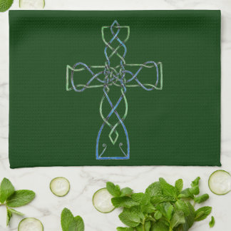 ケルト族の結び糸細工の十字、タオル、台所タオル キッチンタオル
