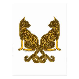 ケルト族猫6の青銅色の金ゴールド ポストカード