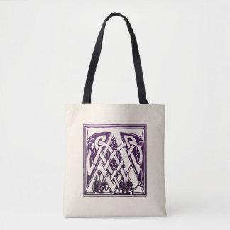 ケルト結び目模様のイニシャル- A -紫色 トートバッグ
