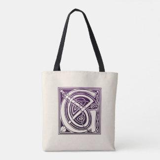 ケルト結び目模様のイニシャル- G -紫色 トートバッグ
