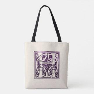 ケルト結び目模様のイニシャル- H -紫色 トートバッグ