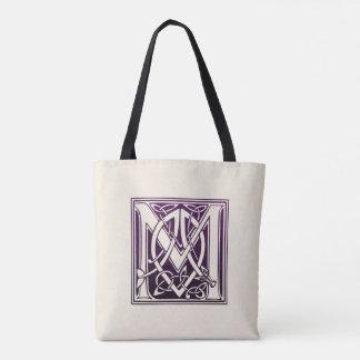 ケルト結び目模様のイニシャル- M -紫色 トートバッグ