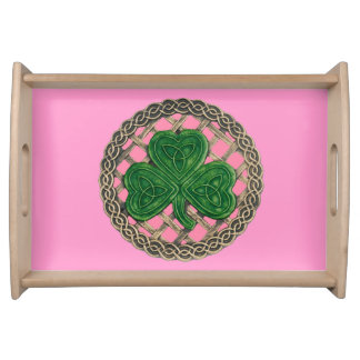 ケルト結び目模様のトレイのピンクのシャムロック トレー