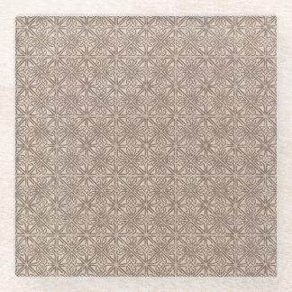 ケルト結び目模様のブラウンパターン ガラスコースター