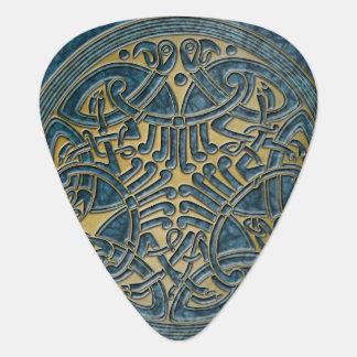 ケルト結び目模様の水及び金ゴールドの鳥-ギターPic ギターピック