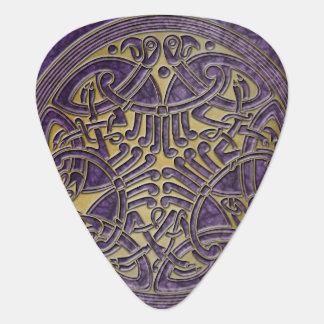 ケルト結び目模様の紫色及び金ゴールドの鳥-ギターPic ギターピック