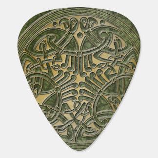 ケルト結び目模様の緑及び金ゴールドの鳥-ギターPic ギターピック