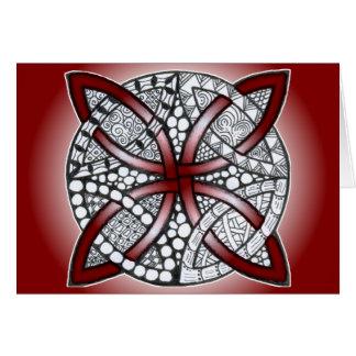 ケルト結び目模様の落書きのあずき色の赤 カード